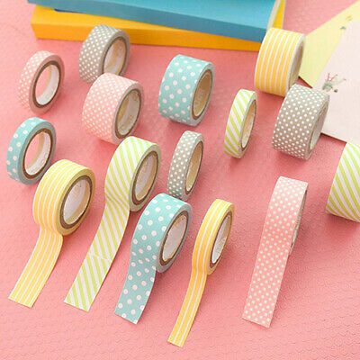 5 Rolls Polka Dot Striped Adhesive Sticky Washi Paper Decorative Masking Tapes