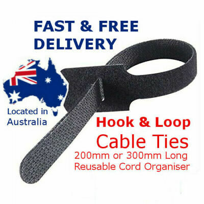 Magic Cable Ties Reusable Hook and Loop Cable Ties Organiser Cords 200mm 300mm