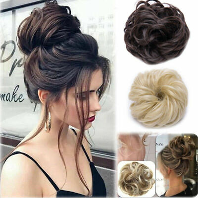 Human Real Natural Curly Messy Bun Hair Piece Scrunchie Hair Extensions Wig