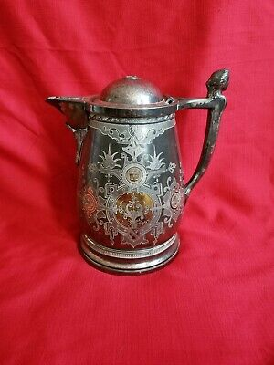 Antique 1868 Meriden Lyman's patent silverplate ornate water pitcher