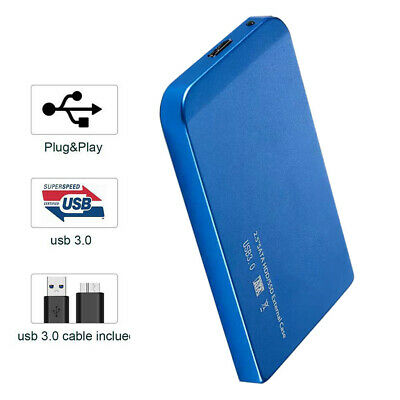2TB USB 3.0 Portable External Hard Drive Disk HDD 2.5'' for PC Laptop Blue New