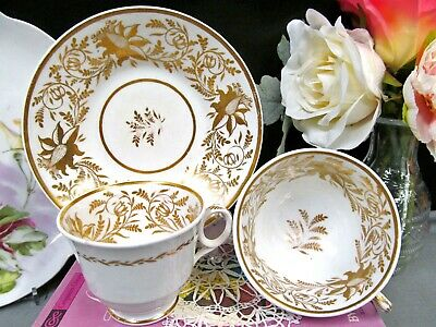 1860'S tea cup and saucer trio gold Ridgway teacup bleeding heart pattern
