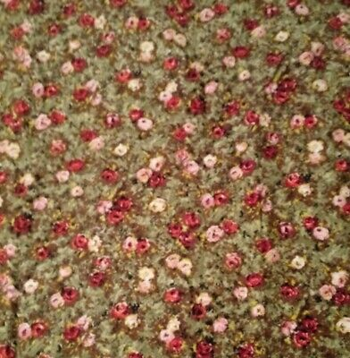 "Vintage mid century fabric 2 1/3 yds x 44"" roses on green 1940's woven cloth"