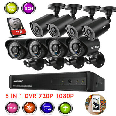 1TB HDD 8 CH AHD 5 IN 1 DVR CLOUD Camera Esterno 3000TVL 1080P HD 2MP Antifurti