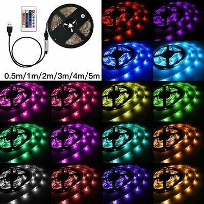 LED Strip Lights USB RGB 5050 TV Back Lamp Colour Changing + Remote 0.5-5M 5/12V