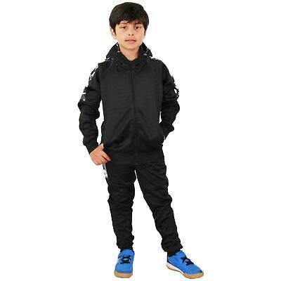 Kids Boys Girls Tracksuit Camouflage Panelled Black Hooded Top & Bottom Joggers