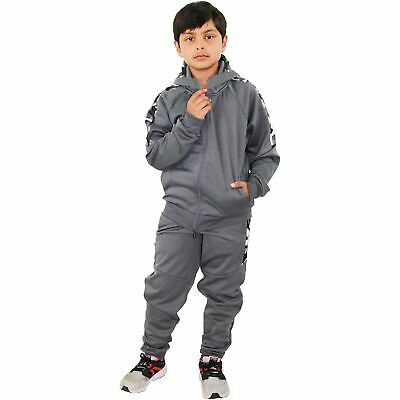 Kids Boys Girls Tracksuit Camouflage Panelled Grey Hooded Top Bottom Joggingsuit