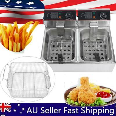 12L 5000W Commercial Steel Benchtop Electric Deep Fryer with Double Oil Basket
