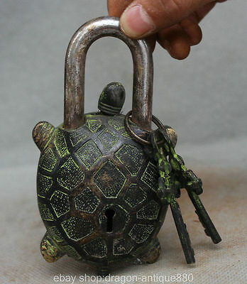 Ancient Tibet Bronze Dynasty Tortoise Turtle Statue Latch Lock key Set A