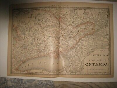 Vintage Antique 1883 East Eastern Part Ontario Canada Railroad Map Detailed Fine