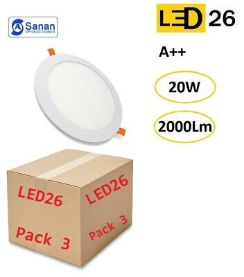 Pack 3 plafones LED DownLight 20W panel empotrar-encastrar redondo 22,5cm blanco