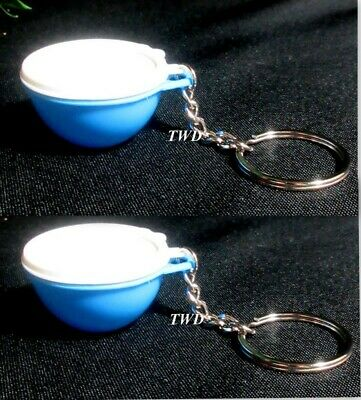 Tupperware New et of 2 Mini Miniature Blue Thatsa Bowl Keychains White Seals