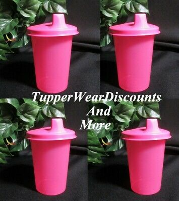 Tupperware New Set 4 PINK  Kids Bell Tumblers with PINK Sipper Sippy Seals