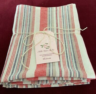 """NEW 100% LINEN KITCHEN DISH TOWELS SET of 2 HANDMADE 27""""X18""""-RUSTIC RED & WHITE"""