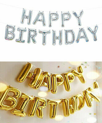 """Happy Birthday 14""""Inch Self-inflating Balloon Banner Bunting Party Large Baloons"""