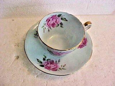 Vintage Aynsley Pale Blue With Pink Roses And Gold Trim  Cup And Saucer