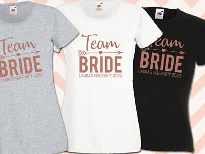 Hen T Shirts Team Bride Rose Gold Personalised Hen Do Top
