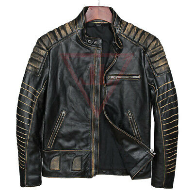 Men's  Jacket Retro Black Real Soft Genuine Distressed Waxed Leather Jacket
