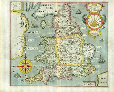 1607 - RARE 1st Edition Original Antique Map ENGLAND & WALES by Saxton Kip/Hole