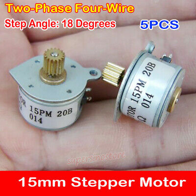 5pcs mini Small 15mm 2-phase 4-wire stepper motor Metal Gear 18 Degree Stepping