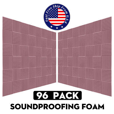 "96 Pack Acoustic Foam Panel Wedge Studio Soundproofing Wall Tiles 10"" X 10"" X 2"""