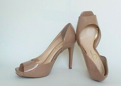 3e1cd6632bd NWOB JESSICA SIMPSON Pump Patent Peep Toe Heels Shoes Size10 Nude ...