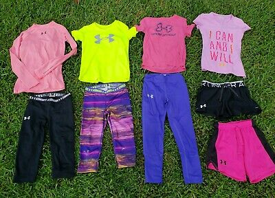 UNDER ARMOUR Lot Girls Small (8) Shorts Shirts Legging