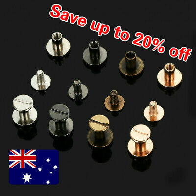 10pcs Flat Belt Screw Leather Craft Chicago Nail Brass Solid Rivet Stud Head AU
