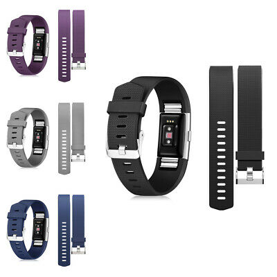 4-pack Soft Wristband Strap Band w/Metal Buckle for Fitbit Charge 2 Multicolor