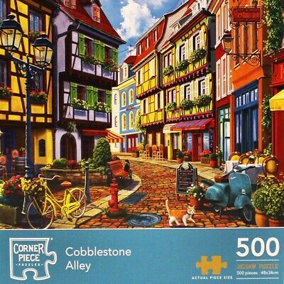 Cobblestone Alley 500 Piece Jigsaw Puzzle, Toys & Games, Brand New