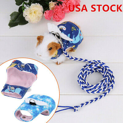 Small Pet Harness Leash Guinea Pig Ferret Hamster Rabbit Squirrel Clothes & Lead