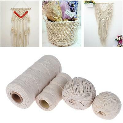 100% Natural Beige Cotton Twisted Cord Craft DIY Macrame Artisan String Hot