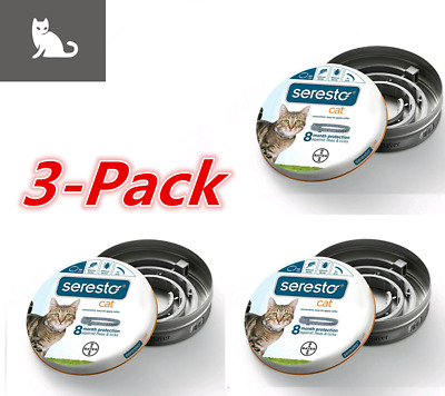 3 Pack-Bayer Seresto Flea Collar for Cats 8 Months and Tick Prevention