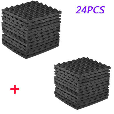 """24Pack Acoustic Studio Soundproofing Egg Crate Foam Wall Tiles 12""""X12"""" Grey F1E7"""