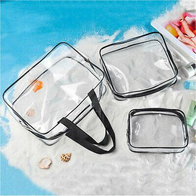 Clear Make Up Bag Plastic Travel Cosmetic Toiletry Holder Pouch PVC Zip Bags