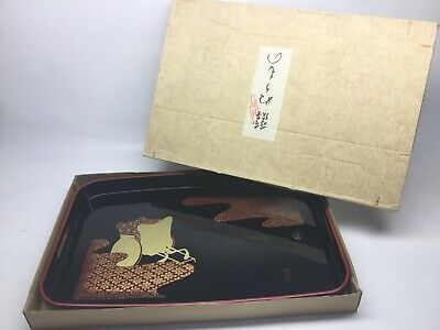 Vintage 1940s - 1950s Japanese Lacquer Serving Tray In Original Box