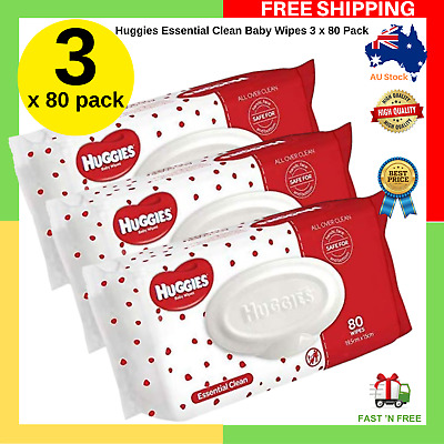 * SPECIAL BUY * Huggies Essential Clean Baby Wipes 3 x 80 Pack | FREE SHIPPING