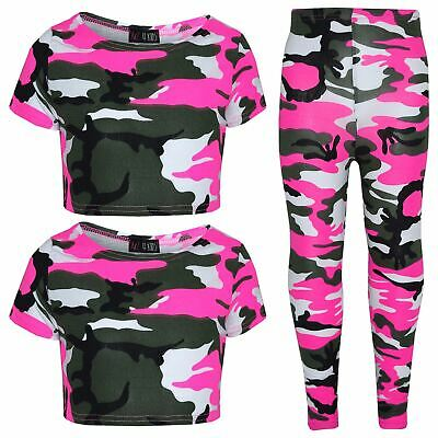 Girls Top Kids CamouFlage Print Trendy Crop Top Fashion Legging Age 7-13 Years