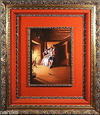 T&V Limoges Gorgeous Porcelain  Framed 16X12 Painted Plaque  Couple At Fireplace