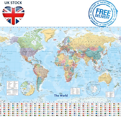 WORLD MAP Large Poster Country Flags Banners Home Office Study Decoration XXL