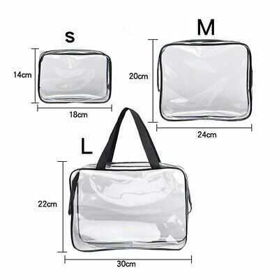 S/M/L Clear Makeup Bag PVC Travel Cosmetic Toiletry Zipped Wash Bag Holder Pouch
