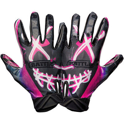 Battle Sports Science Nightmare Adult Cloaked Football Receiver Gloves - Black