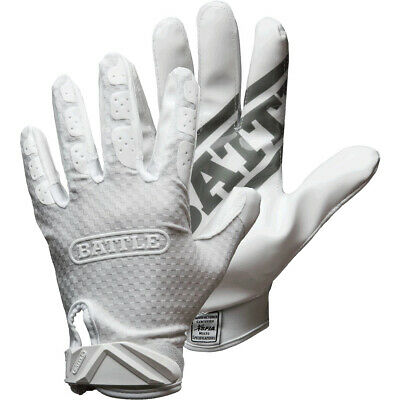 Battle Sports Science Triple Threat Adult Football Receiver Gloves - White
