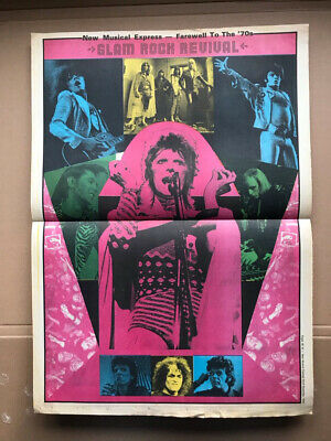 DAVID BOWIE/OTHERS GLAM ROCK REVIVAL POSTER original NME illustrated centre post