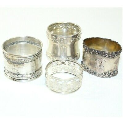 Antique Sterling Silver Napkin Ring Holder Collection.