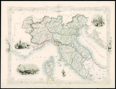 """1850 Illustrated Antique Map """"NORTHERN ITALY"""" Sicily Sardinia by TALLIS (135d)"""