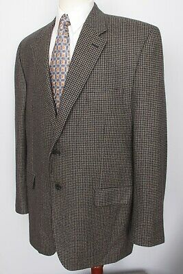 Chaps Houndstooth 100% Lambswool Mens Sport Coat 46L 2 Button
