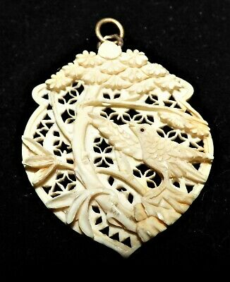 Antique Victorian Chinese Carved Pendant Song Bird In Tree Dieppe Carved Pendant