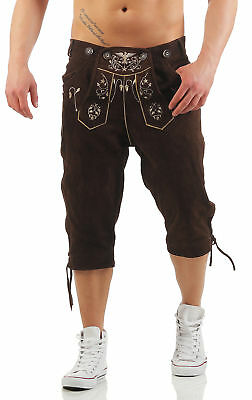 Knee-Breeches Leather Pants Men's Eagle Brown Smartphone Pocket Traditional