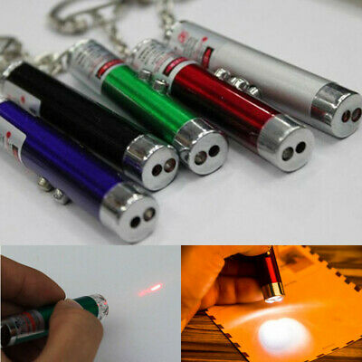 Mini 2 In1 Red Laser Pointer Pen With White LED Light Child Cat Pet Toy Keychain